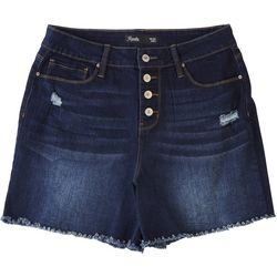 Royalty by YMI Womens Hide Your Muffin Top Fringed Shorts