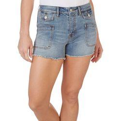 Vigoss Womens Decorative Pockets Fringe Denim Shorts