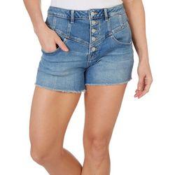 Vigoss Womens Mid Rise Button Fly Fringe Denim Shorts