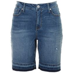 Seen 7 Womens Cut Off Bermuda Denim Shorts