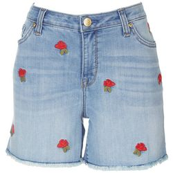 Seven 7 Womens Rose Embroidered Shorts