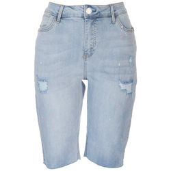 Seen 7 Womens Paint Stain Denim Bermuda Shorts