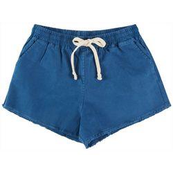 Double Zero Womens Solid Drawstring Lounge Frayed Shorts