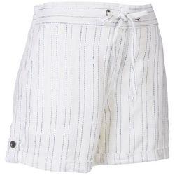 Per Se Womens 5'' Linen Drawstring Stripe Shorts