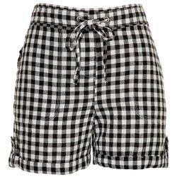 Per Se Womens Roll Cuffed Checkered Shorts