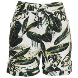 Per Se Womens Roll Cuffed Tropical Shorts