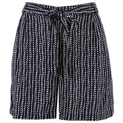 Per Se Womens Self-Tie Dotted Striped Shorts