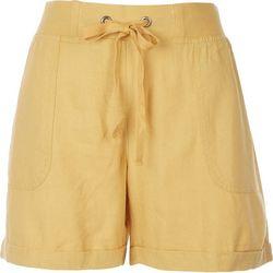 Per Se Womens Solid Rustic Linen Shorts