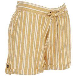 Per Se Womens Drawstring Striped Shorts