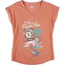 Womens On Florida Time V-Neck T-Shirt