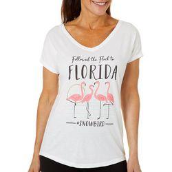 Florida Strong Womens Flamingo Snowbirds V-Neck T-Shirt
