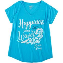 Womens Happiness Comes In Waves V-Neck Shirt