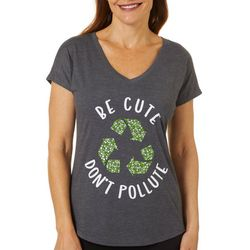 Womens Be Cute Don't Pollute V-Neck T-Shirt