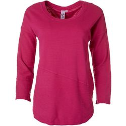 Hot Cotton Womens French Terry Solid Textured Top