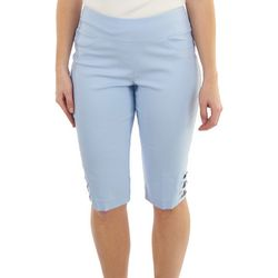 Hearts of Palm Womans Solid Crisscross Hem Bermuda Shorts