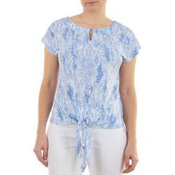 Hearts of Palm Womens Tie Front Abstract Pattern Top