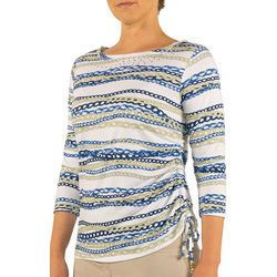 Hearts of Palm Womens Stripes and Sails Chain Print Top