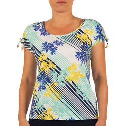 Hearts of Palm Womens Stripes and Sails Floral Stripe Top
