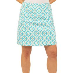 Hearts of Palm Womens Lighten The Mood Tile Print Skort