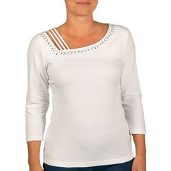 Hearts of Palm Womens Lighten The Mood Asymmetrical Neck Top