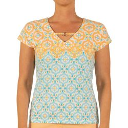 Hearts of Palm Womens Lighten the Mood Trellis Keyhole Top