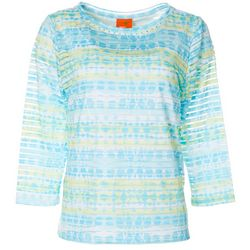 Hearts of Palm Womens Lighten The Mood Subtle Stripe Geo Top