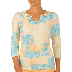 Hearts of Palm Womens Lighten the Mood Woodblock Print Top