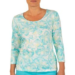 Hearts of Palm Womens Lighten the Mood Watercolor Petals Top