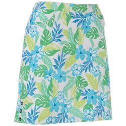 Hearts of Palm Womens Color Binge Floral Tech Stretch Skort