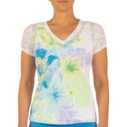 Hearts of Palm Womens Color Binge Hibiscus Floral Top