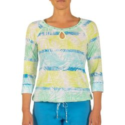 Hearts of Palm Womens Color Binge Palm Print Tie Front Top