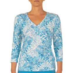Hearts of Palm Womens Color Binge Falling Leaves Top