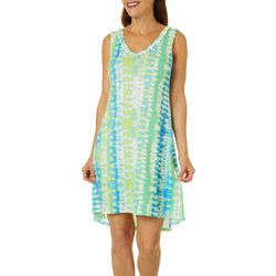 Hearts of Palm Womens Color Binge Tie Dye V-Neck Dress