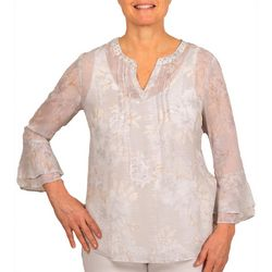Hearts of Palm Womens Stay Neutral Floral Bell Sleeve Top