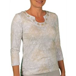 Hearts of Palm Womens Stay Neutral Tile Print Top