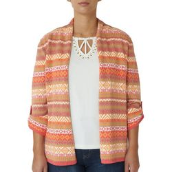 Hearts of Palm Womens Diamond Stripe Cardigan