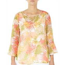 Hearts of Palm Womens Palm Leaf Bell Sleeve Top