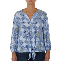 Hearts of Palm Womens Patchwork Print Tie Front Top