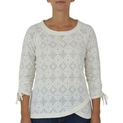 Hearts of Palm Womens Printed Ruched Sleeves Top