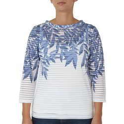 Hearts of Palm Womens Striped Leaf Screen Print Top