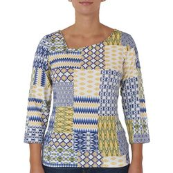 Hearts of Palm Womens Patchwork Asymmetrical Neck Top