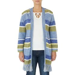 Hearts of Palm Womens Striped Fringe Cardigan