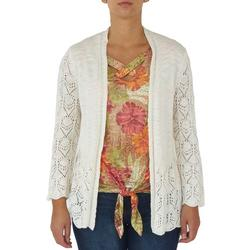 Womens Solid Pointelle Open Cardigan