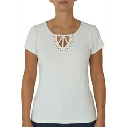 Hearts of Palm Womens Solid Embellished Keyhole Top