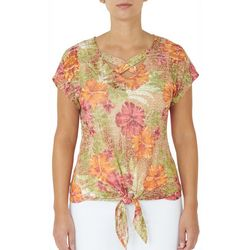 Hearts of Palm Womens Floral Crisscross Tie Front Top