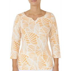 Hearts of Palm Womens Leaflet Split Neck Top