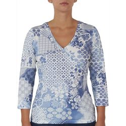 Hearts of Palm Womens Printed V-Neck Top