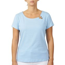 Hearts of Palm Womens Solid Ring Neck Top