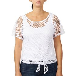 Hearts of Palm Womens Fishnet Front Tie Top