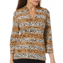 Hearts of Palm Womens Must Haves Stripe Animal Print Top